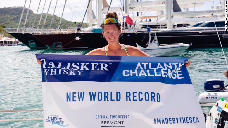 Jasmine Harrison delights in Atlantic Ocean world record row