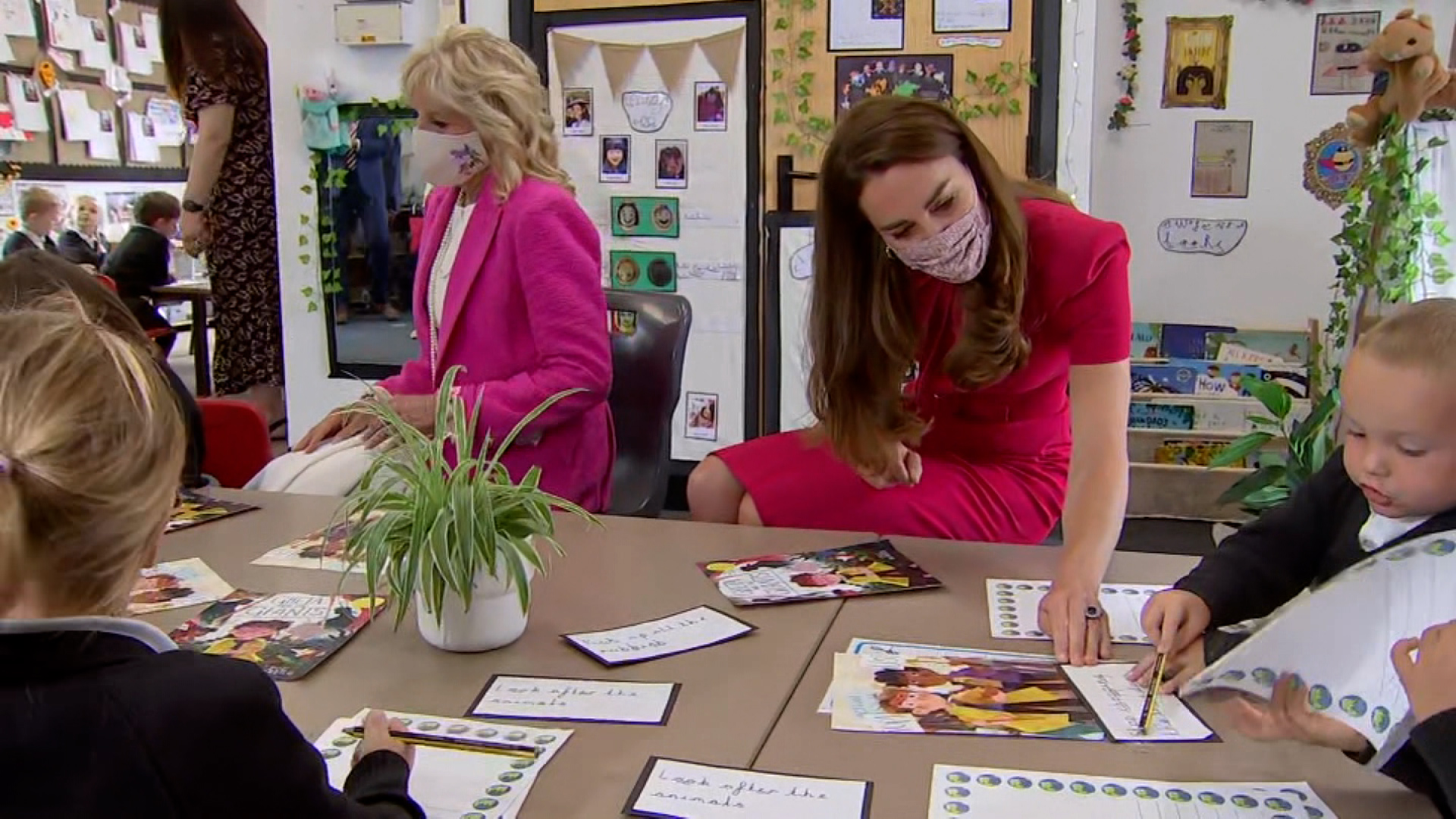 First Lady Jill Biden And The Duchess Of Cambridge Visit Classroom In Cornwall